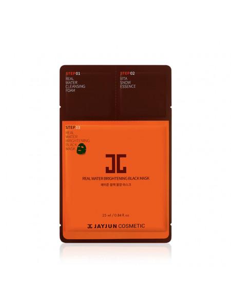 Трёхшаговый экспресс-набор для восстановления кожи Jayjun Cosmetic Real Water Brightening Black Mask