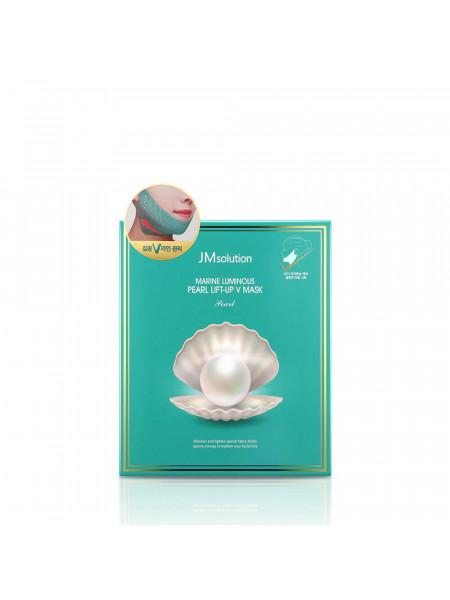Маска для подтяжки контура лица с протеинами жемчуга JMsolution Marine Luminous Pearl Lift-up V Mask