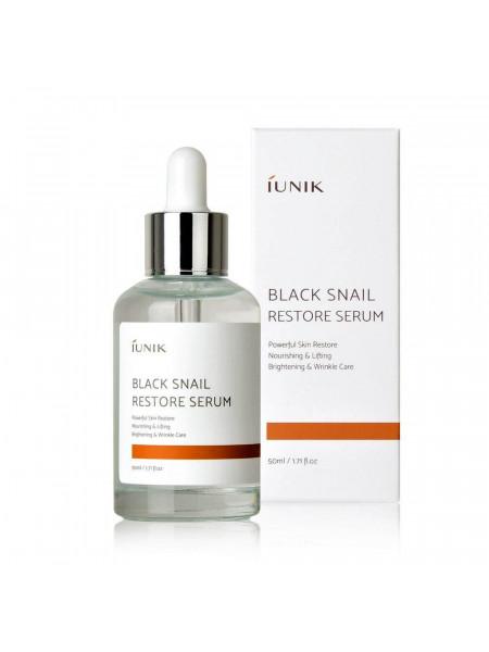 Сыворотка с муцином чёрной улитки для обновления кожи iUnik Black Snail Restore Serum