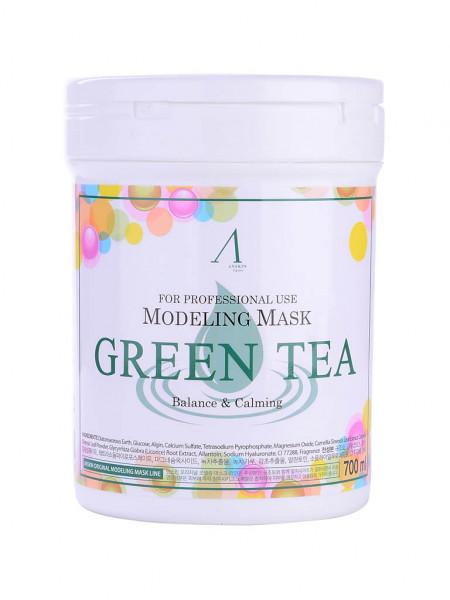 Альгинатная маска с зелёным чаем Anskin Modeling Mask Green Tea For Balance & Calming