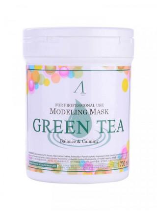 Альгинатная маска с зелёным чаем Anskin Modeling Mask Green Tea For Balance & Calming 240 гр + банка для хранения