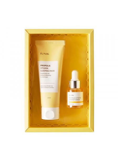 Витаминный набор с прополисом: сыворотка и ночная маска iUnik Propolis Edition Skincare Set