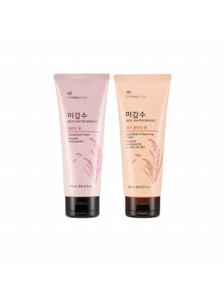 Очищающие пенки с рисовой водой The Face Shop Rice Water Bright Cleansing Foam - Для снятия макияжа (розовая)