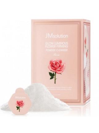 Энзимная пудра для сияния кожи с розовой водой JMsolution Glow Luminious Flower Firming Powder Cleanser Rose — 1 шт. по 0,35 гр