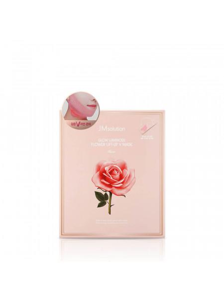 Маска для подтяжки контура лица с розовой водой JMsolution Glow Luminous Flower Lift-Up V Mask