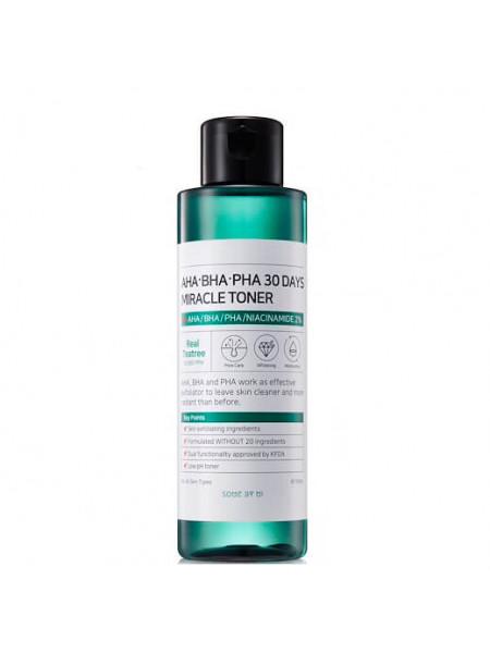 Кислотный очищающий тоник для проблемной кожи Some By Mi AHA-BHA-PHA 30 Days Miracle Toner