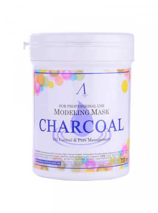 Альгинатная маска с древесным углём Anskin Charcoal Modeling Mask 240 гр + банка для хранения
