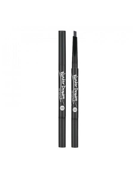 Карандаш для бровей, серо-черный Wonder Drawing 24hr Auto Eyebrow 01 Grey Black